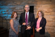 TMA President Pam Petrow, TMA Monitoring Center Manager of the Year Keith Godsey of Dynamark, SMD Editor SDM Editor Karyn Hodgson